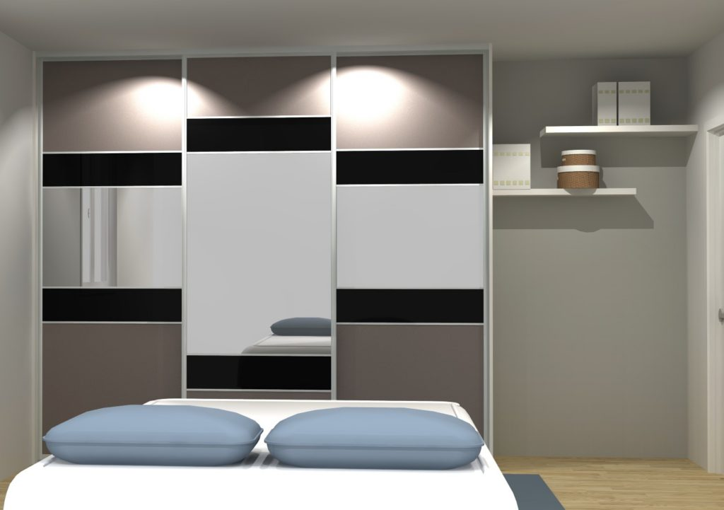 porte de placard 3 vantaux avec miroir style moderne. Black Bedroom Furniture Sets. Home Design Ideas