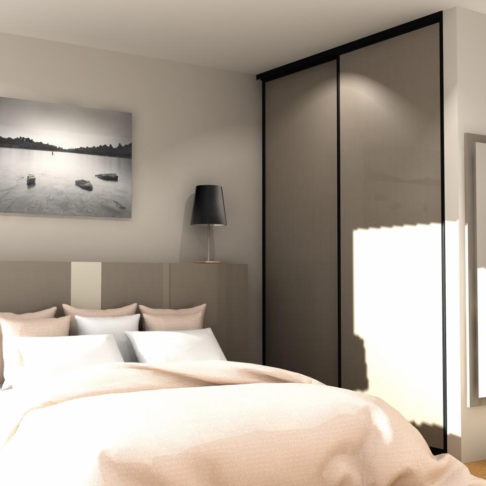 portes coulissantes 2 vantaux ton taupe portedeplacard. Black Bedroom Furniture Sets. Home Design Ideas