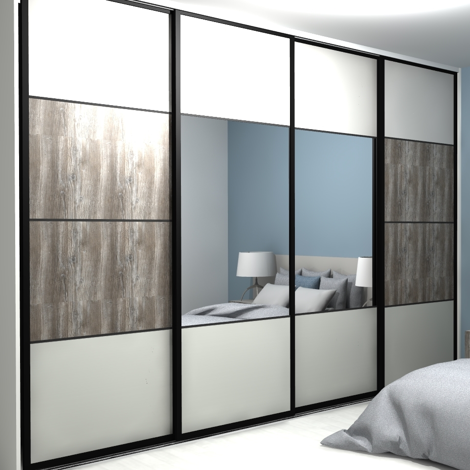 porte coulissante dressing 4 vantaux avec miroir. Black Bedroom Furniture Sets. Home Design Ideas