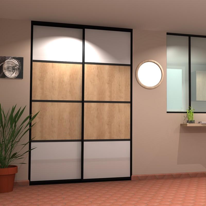 Portes de placard bois coulissantes 2 vantaux | SGA